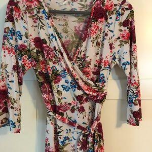 Pinkblush maternity wrap dress - floral
